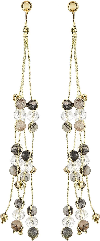 Pendientes de clip - chapado en oro pendientes con ágata gris y negra y cuentas de vidrio transparente - Ryo B por Bello London