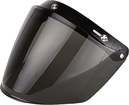 Smoke Gradient Bubble Face Shield Visor for 3-Snap Open Face Helmets
