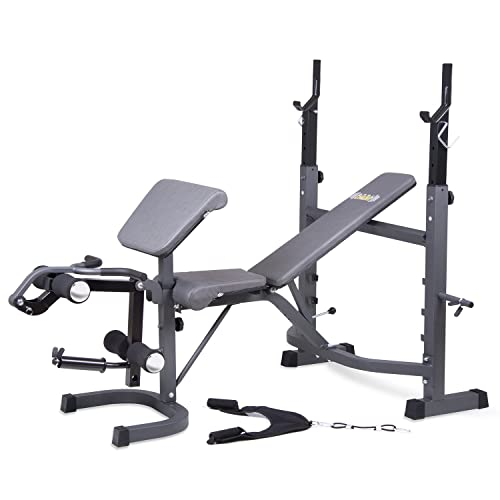 Body Champ Olympic Weight Bench With Preacher Curl, Leg Developer And  Crunch Handle, Dark
