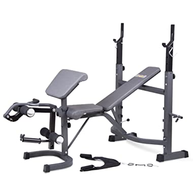 Body Champ Olympic Weight Bench with Preacher Curl, Leg Developer and Crunch Handle, Dark Gray/Black BCB5860