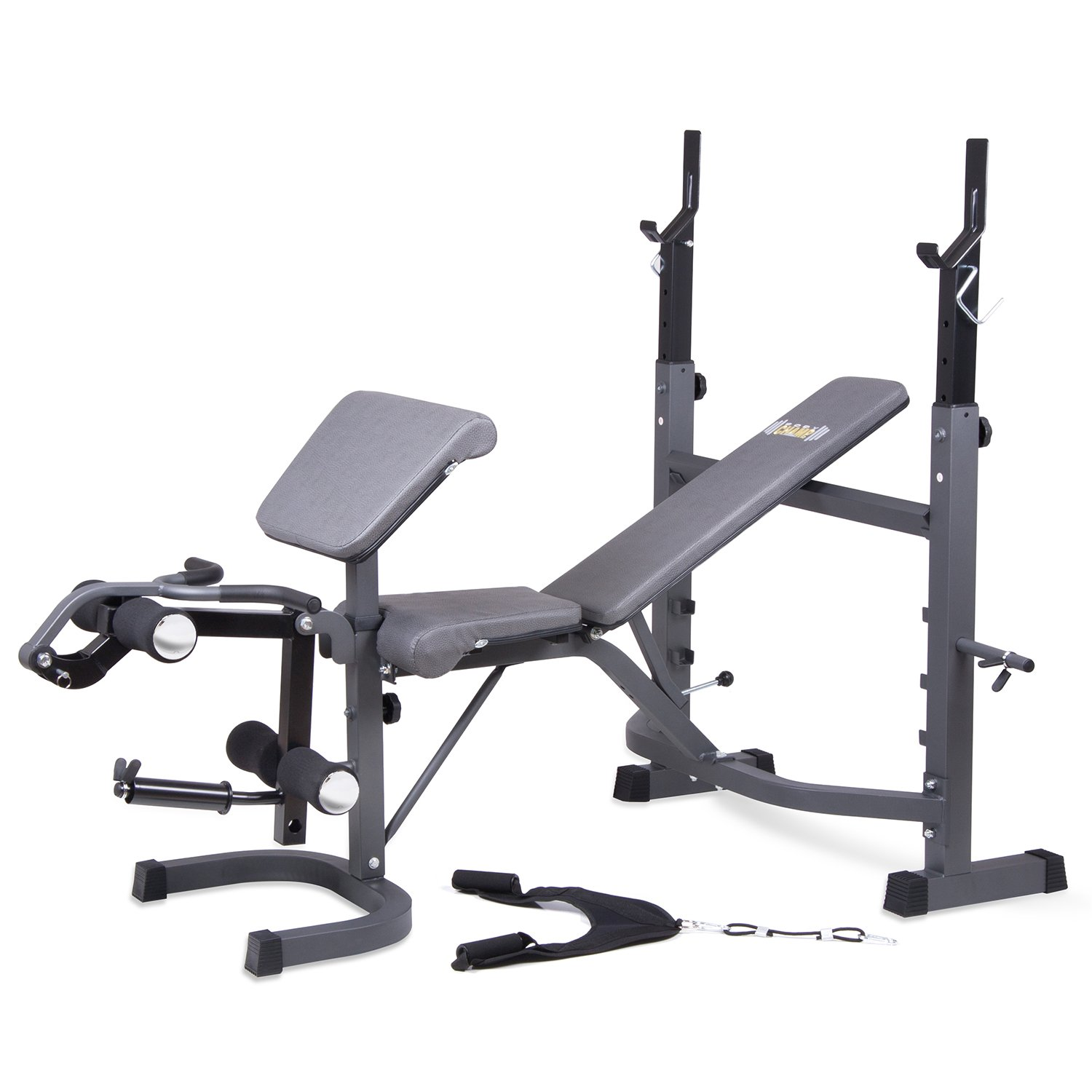 Body Champ BCB5860 Olympic Weight Bench with Preacher Curl, Leg Developer and Ab Crunch Handle / Home Gym Fitness