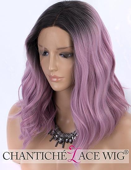 Peluca Chantiche de encaje corto con raíces negras para pelucas onduladas color morado para mujer,