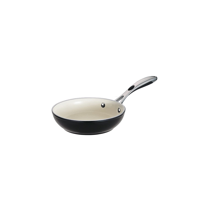 Tramontina 80110/018DS Gourmet Ceramica Deluxe Aluminum Fry Pan, PFOA- PTFE- Lead and Cadmium-Free Ceramic Interior, 8-inch, Metallic Black, Made in Italy