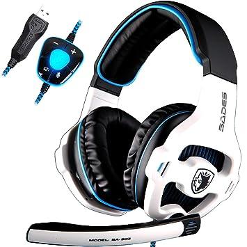 7a71380db14 SADES SA903 7.1 Surround Sound Stereo Pro PC USB Gaming Headset Headband  Headphones with Microphone Deep
