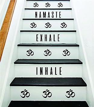 EricauBird Inhale Exhale Namaste Om Calcomanía de pared para escaleras, decoración de habitación, vinilo, casa familiar, escalera, inspirador, yoga, brseathe fácil de aplicar y extraíble: Amazon.es: Bricolaje y herramientas