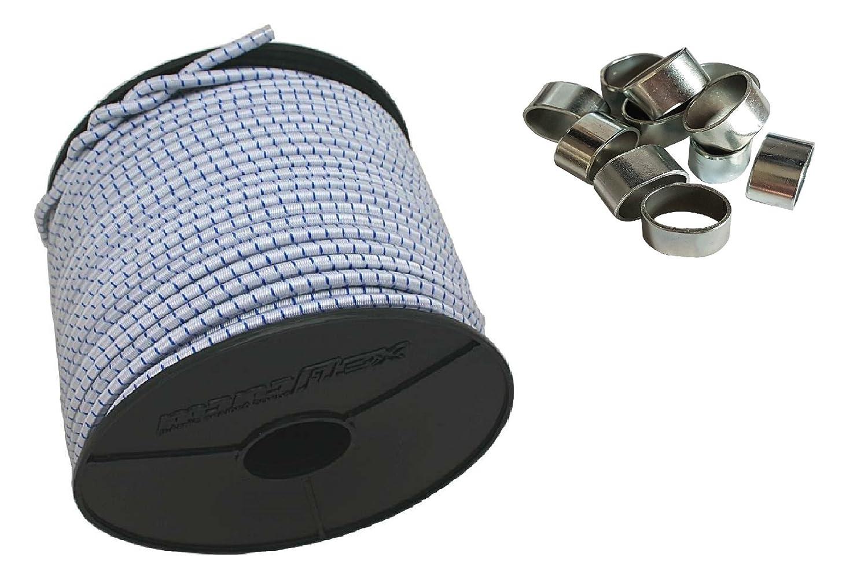 6mm Expanderseil 10 m Gummiseil + 10 Wü rgeklemmen Gummileine Planenseil Seil Plane in Weiss Blau