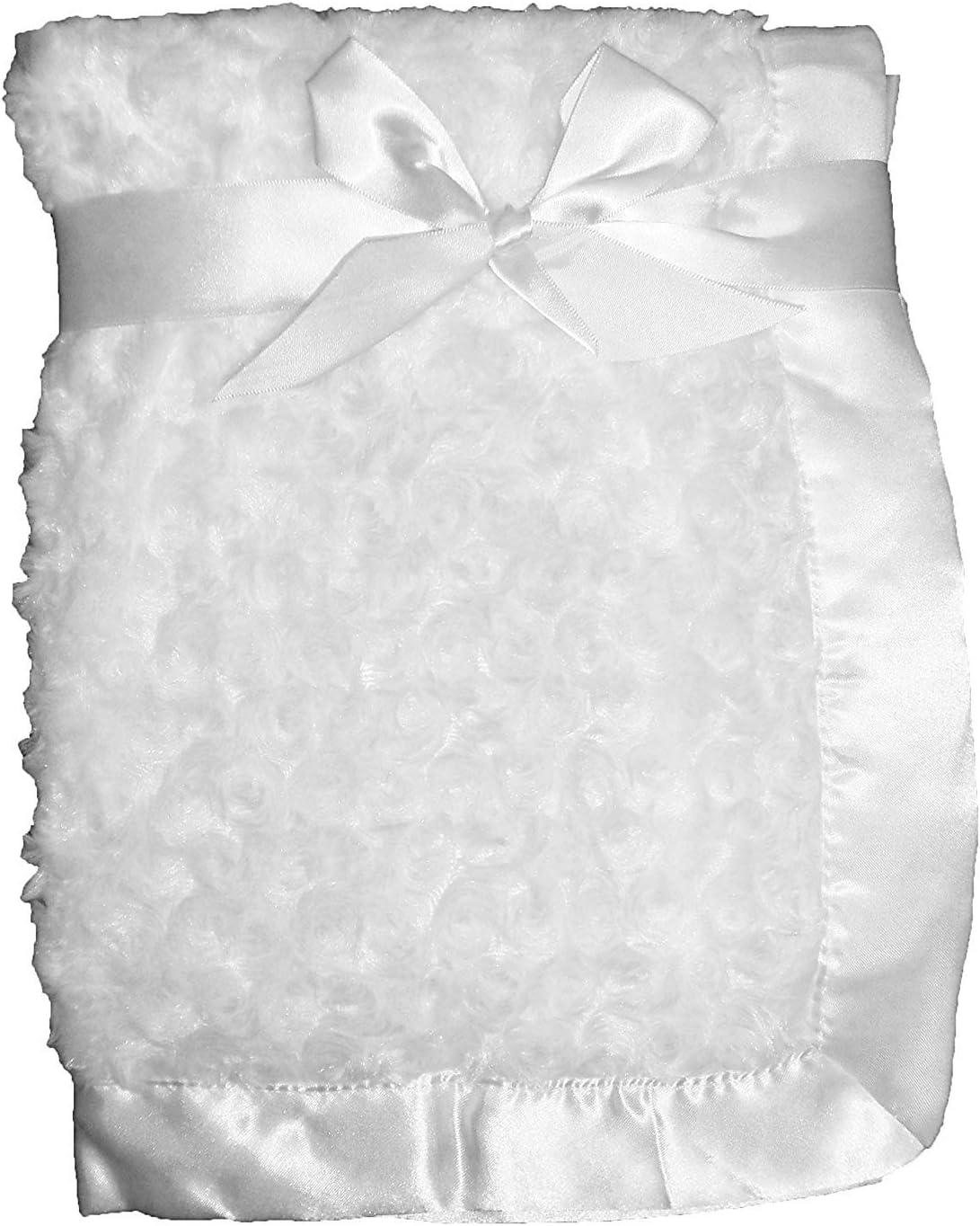 Couverture de berceau en peluche avec bords en satin pour landau