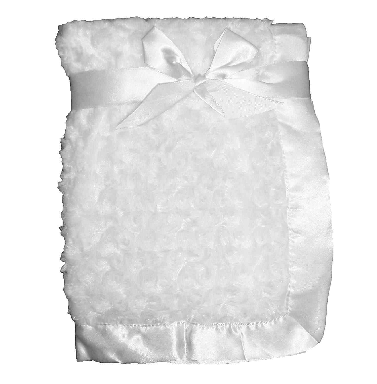 Pink Supersoft Luxurious Swirl Plush Satin Edged Baby Pram Crib Blanket