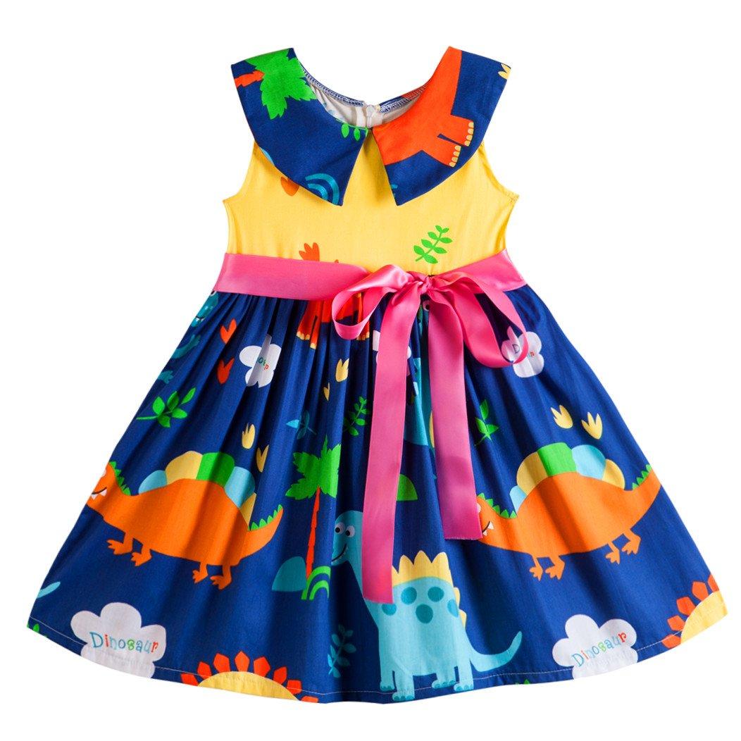 Kseniya Kids Big Little Girls' Animal Dresses Peter Pan Collar Ribbons Plaid Summer Girl Princess Dress (7-9y)