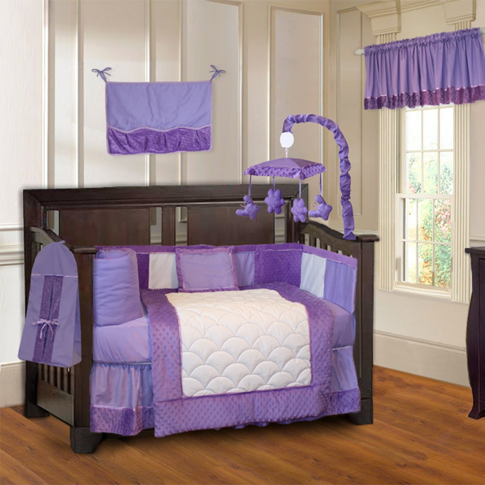 amazoncom babyfad minky purple 10 piece baby crib bedding set baby