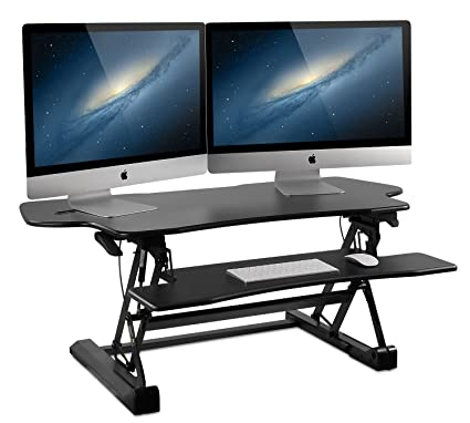 Mount It! Large Standing Desk, 48 Inch Extra Wide Height Adjustable Sit