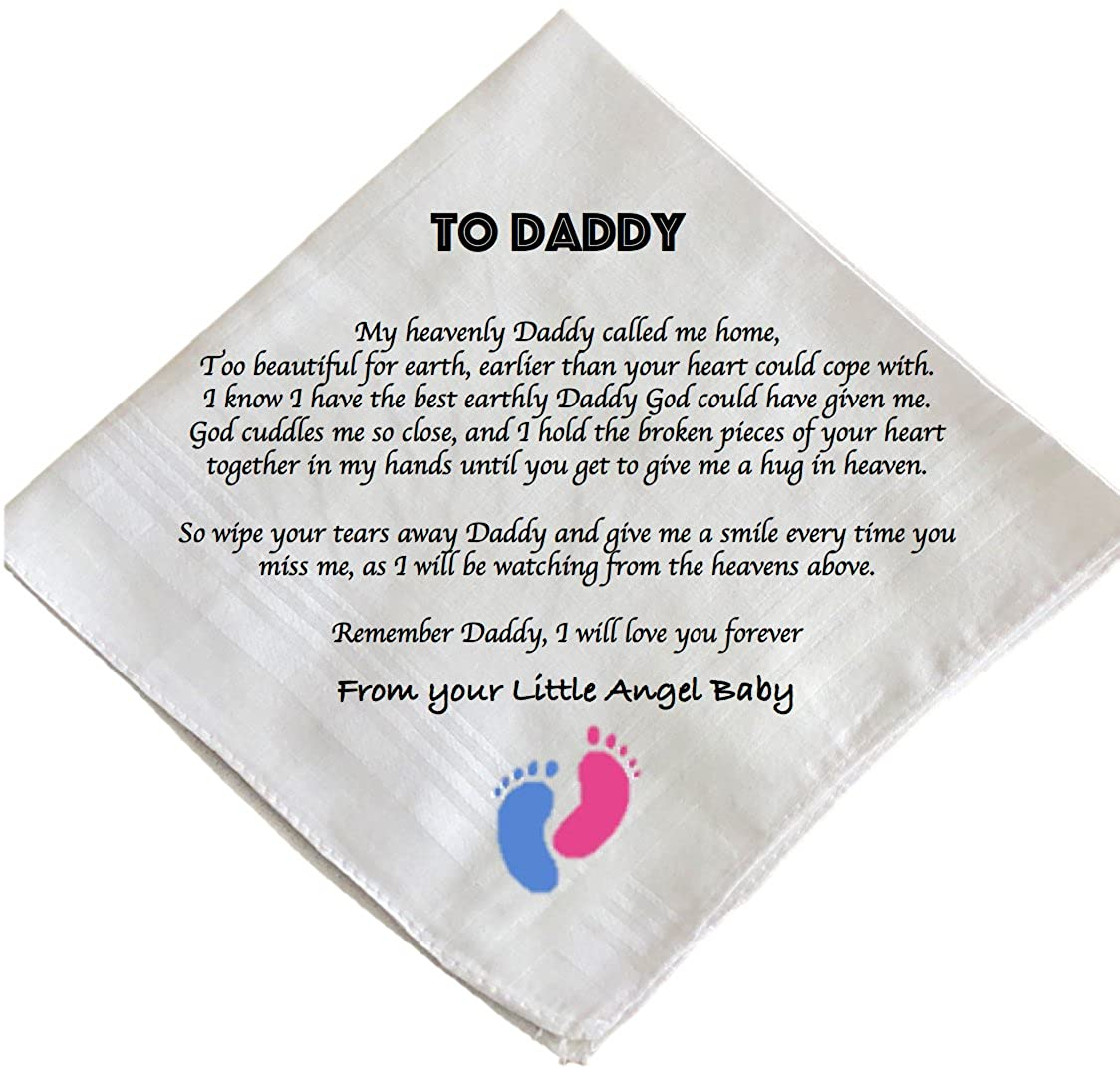 Personalised Sentimental Letter from Heaven Hankie Handkerchief for Dad Baby loss Angel Baby Memorial