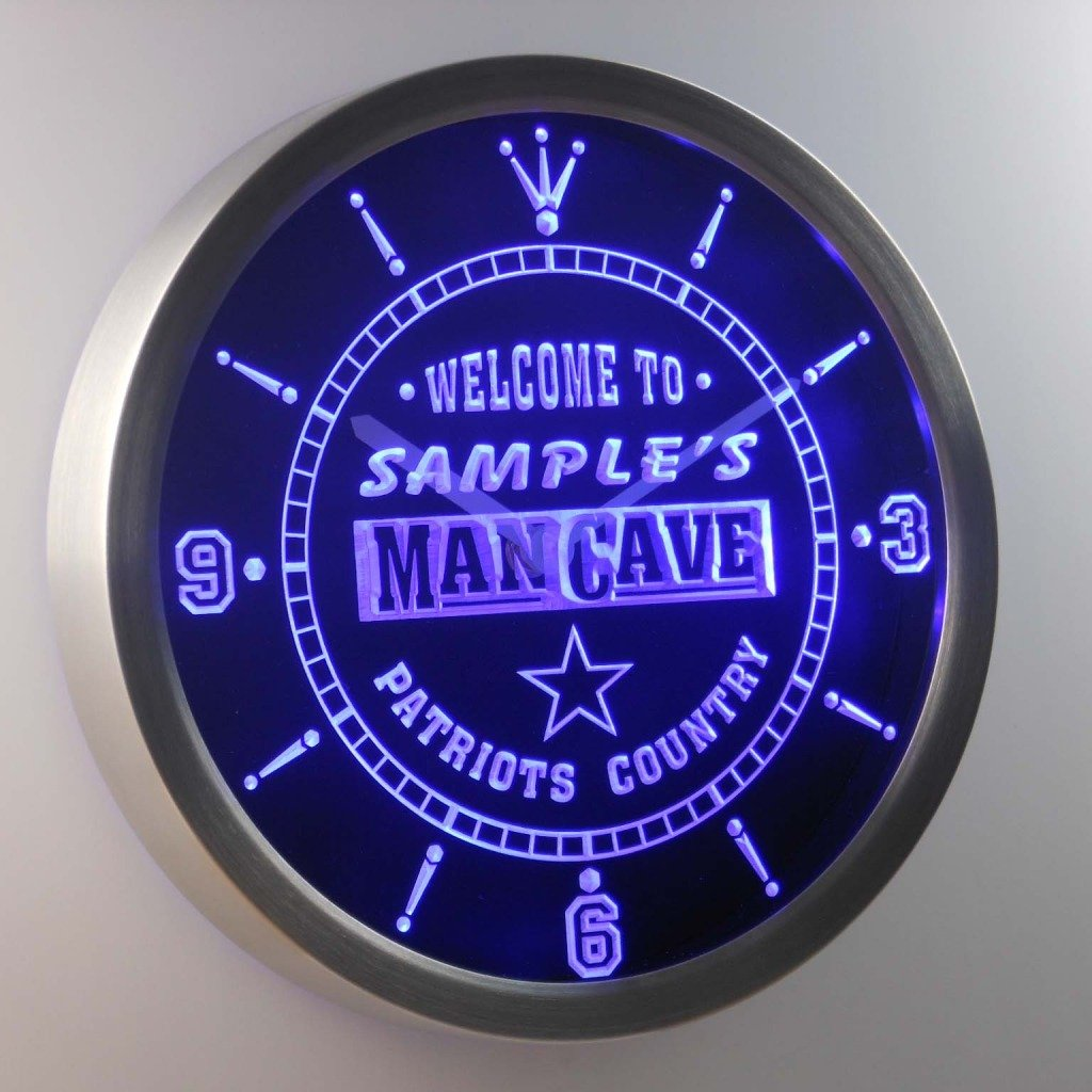 ncqf-tm Name Personalized Custom Man Cave Patriots Country Neon Sign LED Wall Clock