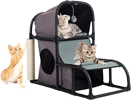 CO-Z 4 in 1 Multi-Functional Cat Tree Condo Furniture, Super Stable Cat Tower House, Combined with Cat Bed, Cat Climber, Peek Holes, Scratching Post Dangling Toy