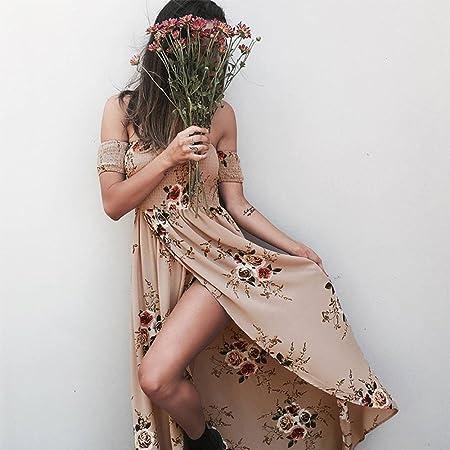 Amazon.com: Boho style long dress women Off shoulder beach summer dresses Floral print Vintage chiffon white maxi dress vestidos de festa Khaki M: Kitchen & ...