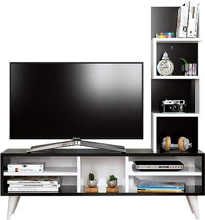 Lily Mueble salón Comedor para televisión - Blanco/Negro - Mueble bajo para televisor - Juego de Muebles de salón - Mesa de Televisión en diseño Elegante: Amazon.es: Hogar