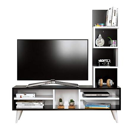 HOMIDEA Lily Set Soggiorno - Parete Attrezzata - Mobile TV Porta con  mensola in Moderno Design (Nero - Bianco)