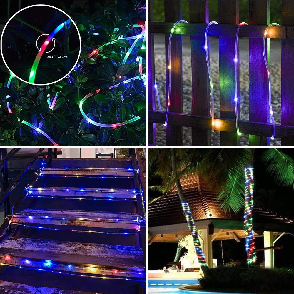 Zinuo LED String Rope Lights 33FT 136 LED Waterproof Outdoor Rope Lights, RF Remote, 8 Modes/Timer, Multi Color Patio Lights for Gardens Parties Wedding Holiday Decor (A Power Adaptor Included) by Zinuo (Image #5)
