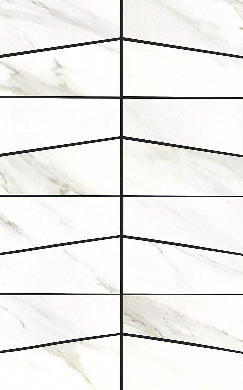 MUZZI Cararra White Porcelain Tile Mosaic| Kitchen Backsplash Idea Bath Shower Wall Decor Art Mosaics, 8 Pcs 12'' X 8''/Each, MP32B-R2-FBA-1SET