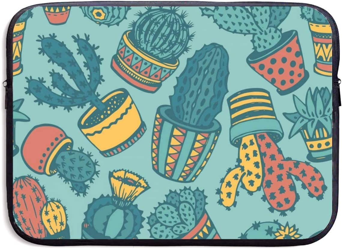 Hand Drawn Cactus Laptop Sleeve Bag Zipper Shockproof Tablet Case Laptop Protective Cover 13//15 Inch