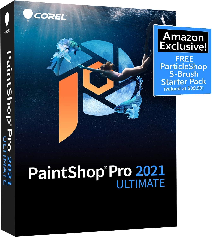 Corel PaintShop Pro 2021 Ultimate   Photo Editing & Graphic Design Software Plus Creative Collection   Amazon Exclusive 5-Brush Starter Pack [PC Disc]
