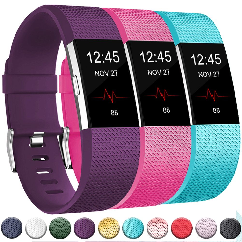 Geak Fitbit Charge 2バンド、Special Edition交換用バンドfor Fitbit charge2 Large Small 12異なる色 B0791B6BBR Large|# 3 Classic-Plum Teal and Rose pink # 3 Classic-Plum Teal and Rose pink Large