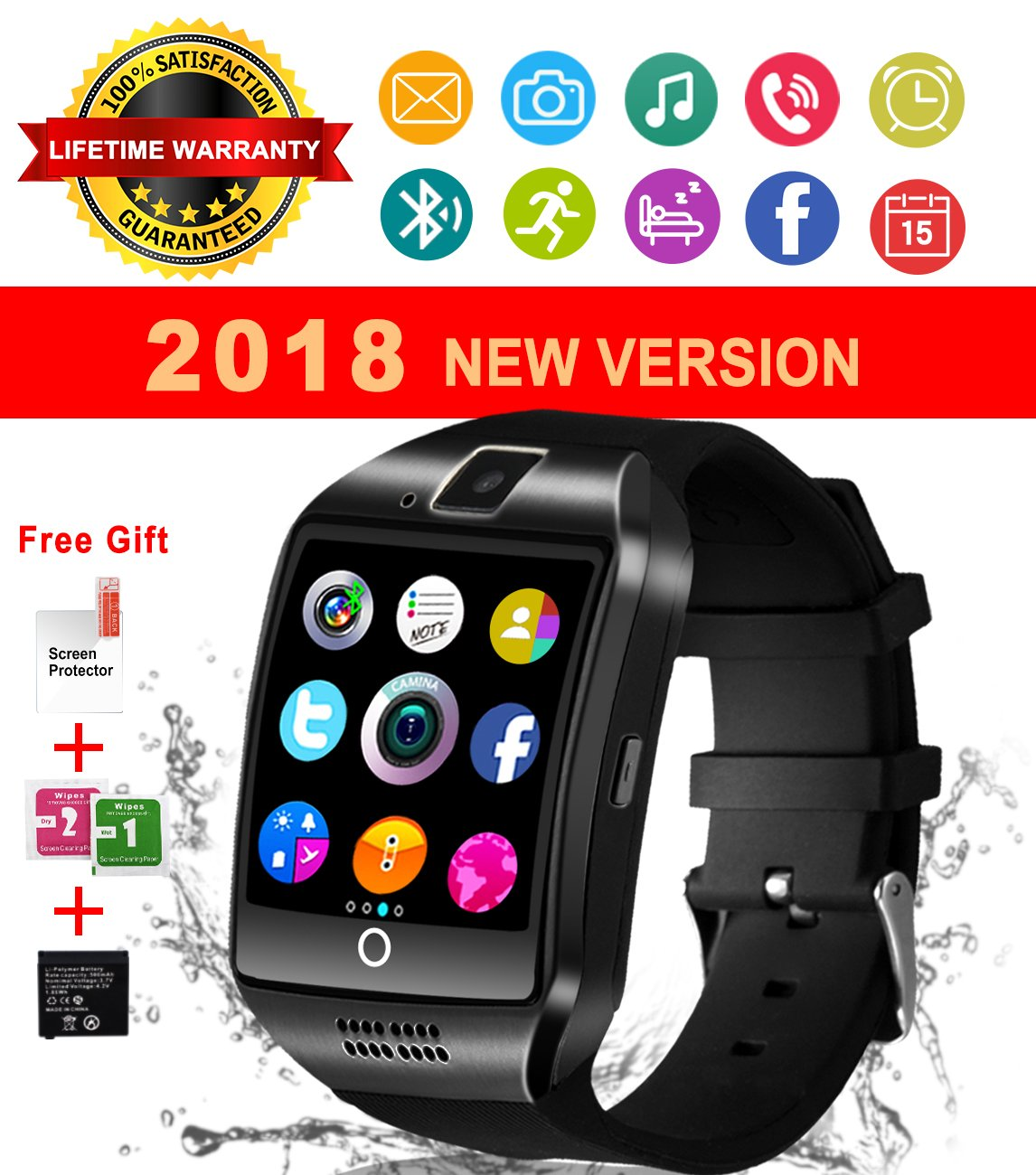 Bluetooth Smart Watch With Camera Waterproof Smartwatch Touch Screen Unlocked Cell Phone Watch Smart Wrist Watch Smart Watches For Android Phones Samsung IOS iPhone 6S 7 7S 8 X Plus (black) by IFUNDA