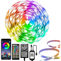 LED Strip Lights 50FT/15M, RGB Light Strips with Bluetooth App Control, LED Lights for Bedroom, Music Sync Rope Lights…
