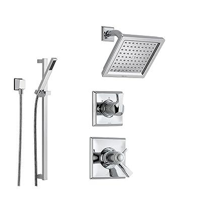Delta Dryden Chrome Shower System With Thermostatic Shower Handle,  3 Setting Diverter, Modern