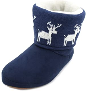 12b8cee98fa Ladies Womens Girls Xmas Novelty Fairisle Print Winter Style Fur lined  Light Up Slipper Boots - Reindeer and…
