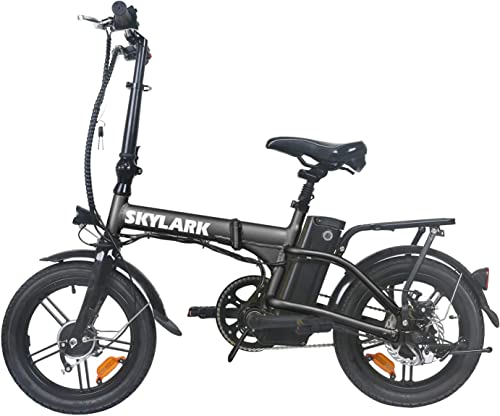TrekPower Folding Electric Bike 250W Lightweight Aluminum Elecctric Bicycle 16 36V10A Lithium Battery Ebike with Pedals,Power Assist, 20 Miles Range E-Bike with Dual Disc Brake
