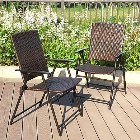 PHI VILLA Patio Rattan Chair 2 Piece Dark Brown – Supports 300 LBS.
