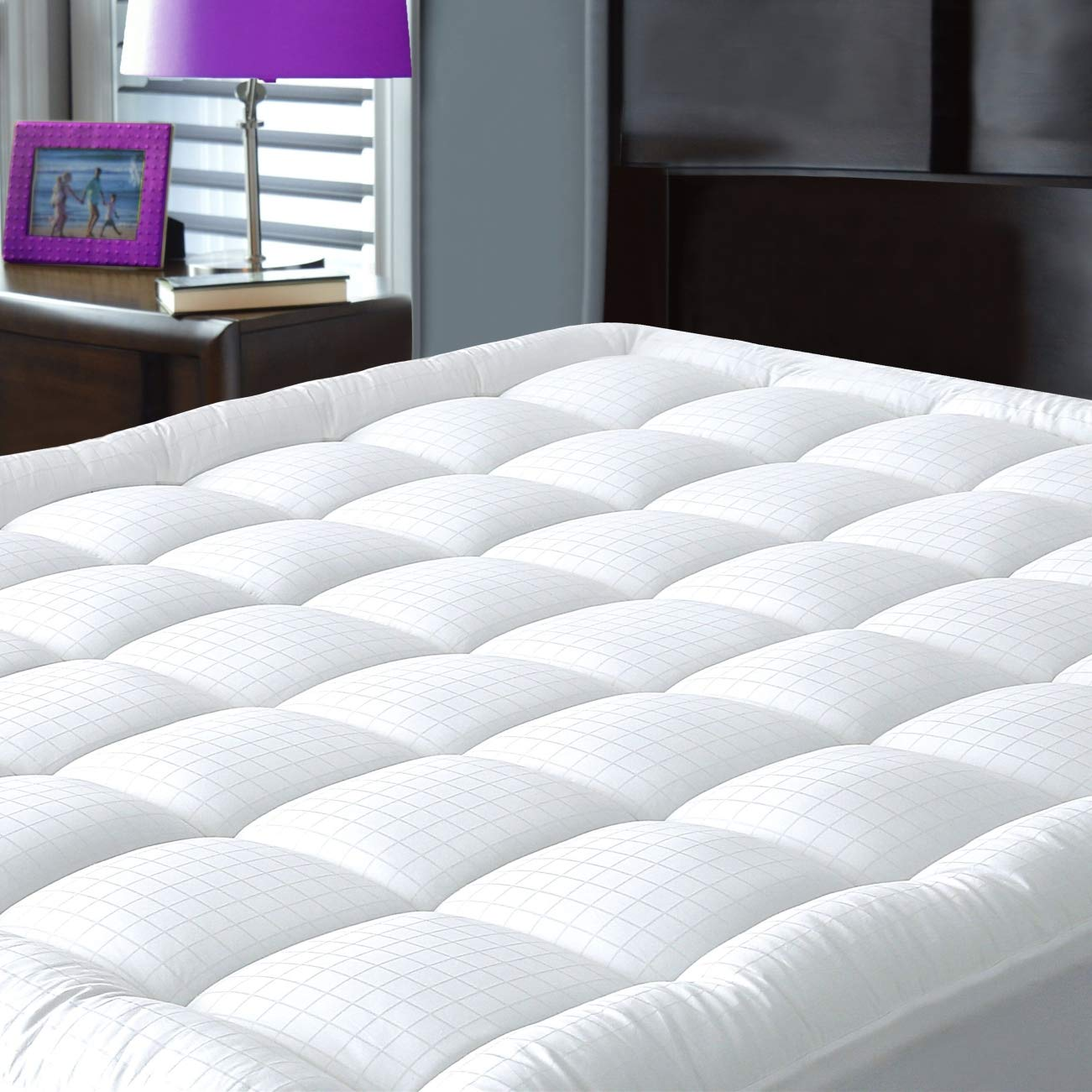JURLYNE Pillowtop Mattress Pad Cover Full Size - Hypoallergenic - Cotton Top Down Alternative Filled Mattress Topper
