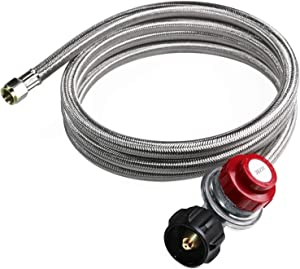 DOZYANT 20 PSI Adjustable Propane Regulator with 8 FT Stainless Steel Braided Hose for Turkey Fryer, Burner, Cooker, Firepit