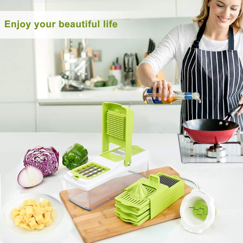 Vegetable Chopper, ONSON Food Chopper Cutter Onion Slicer Dicer, 10 in 1 Veggie Slicer Manual Mandoline for Garlic, Cabbage, Carrot, Potato, Tomato, Fruit, Salad by ONSON (Image #7)