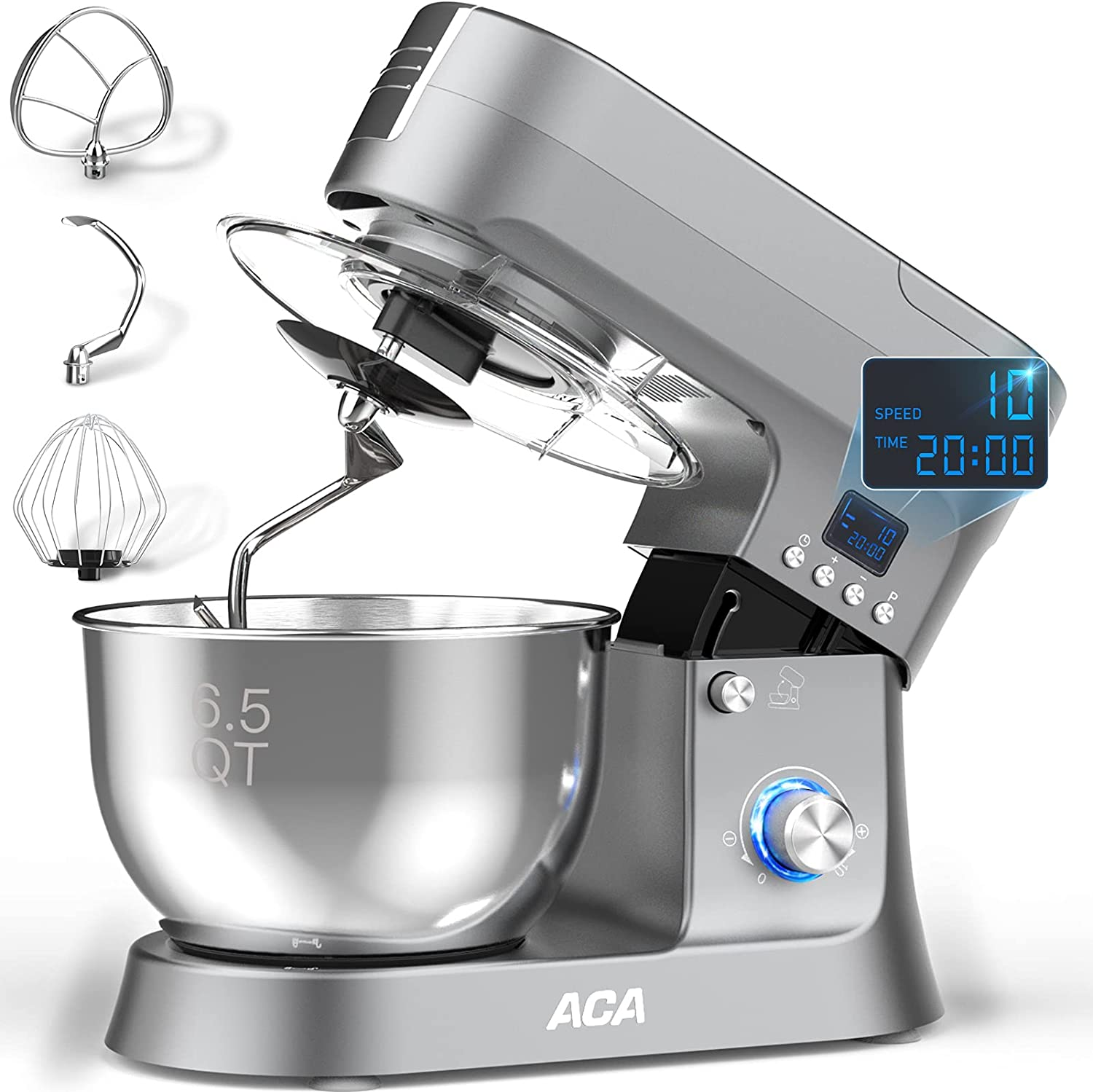 Stand Mixer, ACA 10-Speed & Pulse 800W Electric Kitchen Mixer with 6.5 Qt Stainless Steel Bowl, LCD Timer Food Mixer for Baking with Dough Hook, Wire Whip & Flat Beater, Splash Guard for Home Cooking
