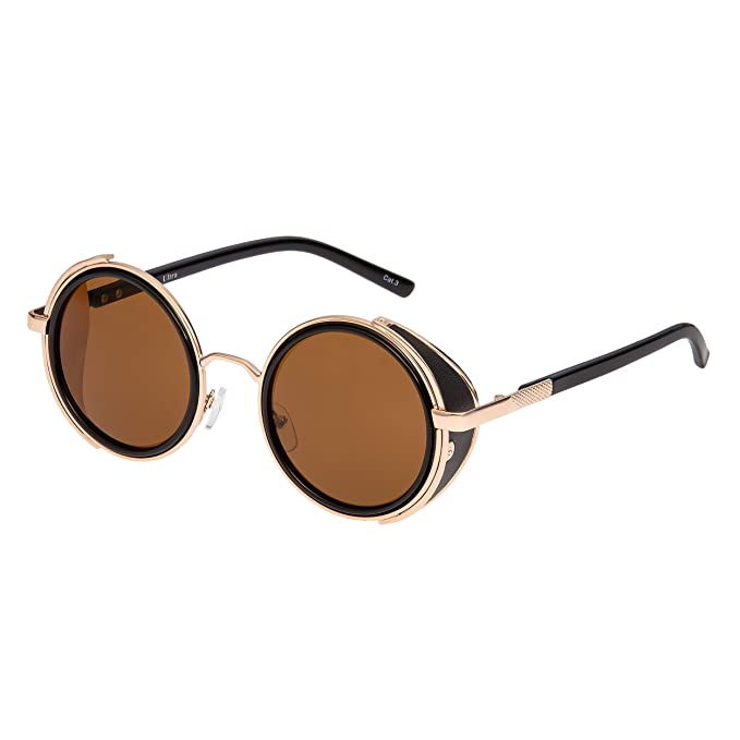 5cb51145dd Ultra Oro Con Lentes Marrones Gafas de Sol Steampunk Premium Retro Mujeres  Hombres Rave Gótico Vintage Remache Estilo Victoriano Ciber Soldadura UV400  Metal ...
