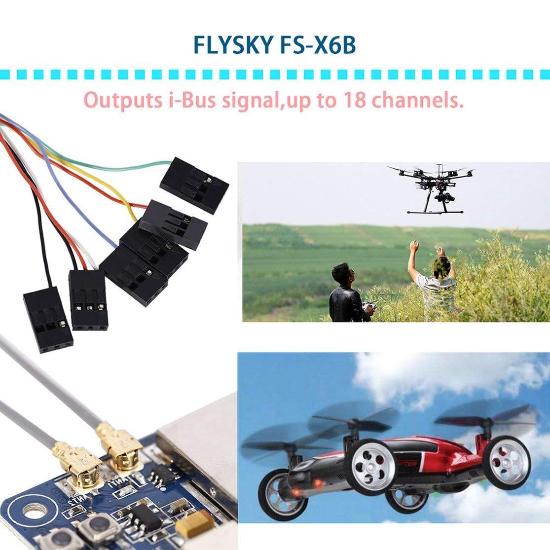 Candybarbar Receptor FS X6B para transmisor del Sistema Flysky AFHDS 2A 2.4G 18 Canales con Interfaz de Sensor de Voltaje Peso Ligero