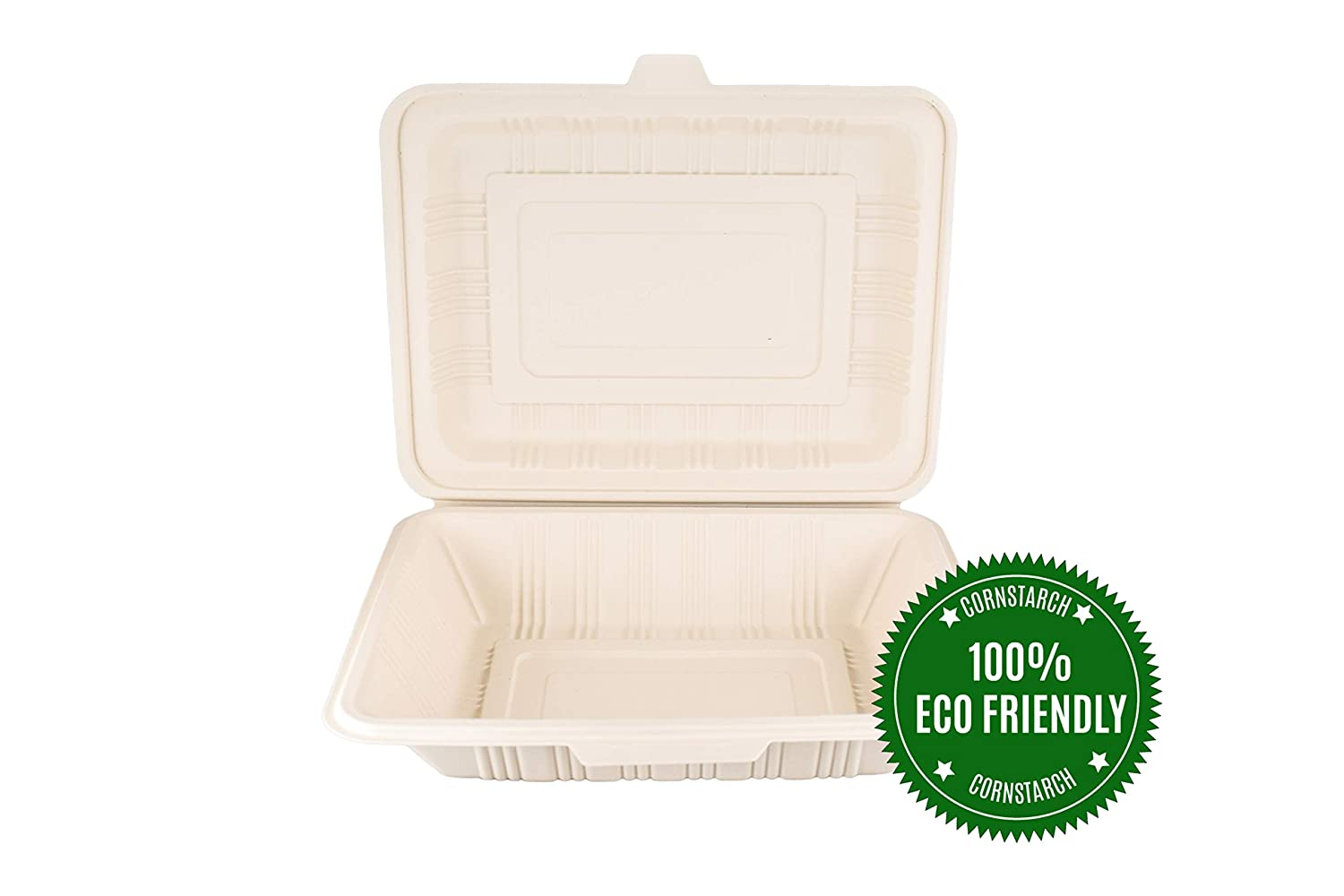 "HeloGreen [125 Count] Eco Friendly To Go Containers (7""x 5"", 1-Compartment) - Non Soggy, Leak Proof, Disposable To Go Boxes, Cornstarch - Microwave Safe Take Out Food Containers"