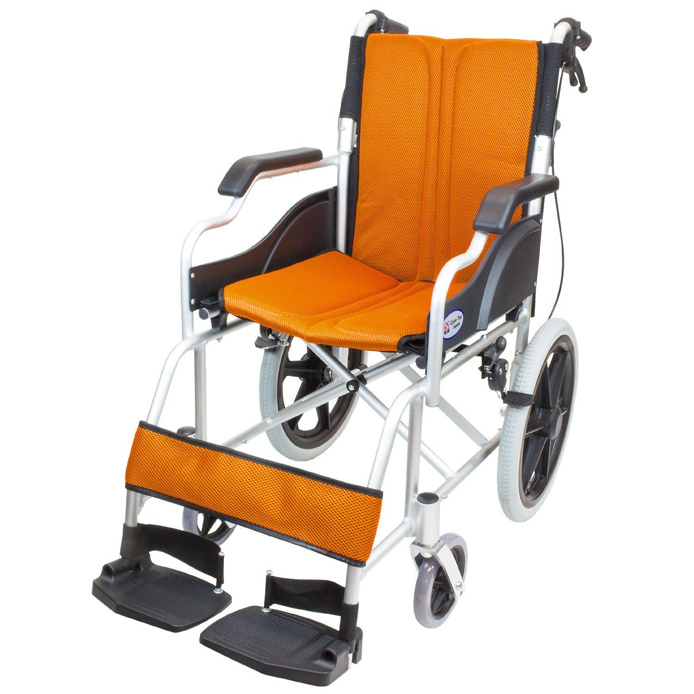 ケアテックジャパン 介助式車椅子 ハピネスコンパクト -介助式- CA-13SU (オレンジ(橙色)) B077VHKNNV オレンジ(橙色) オレンジ(橙色)