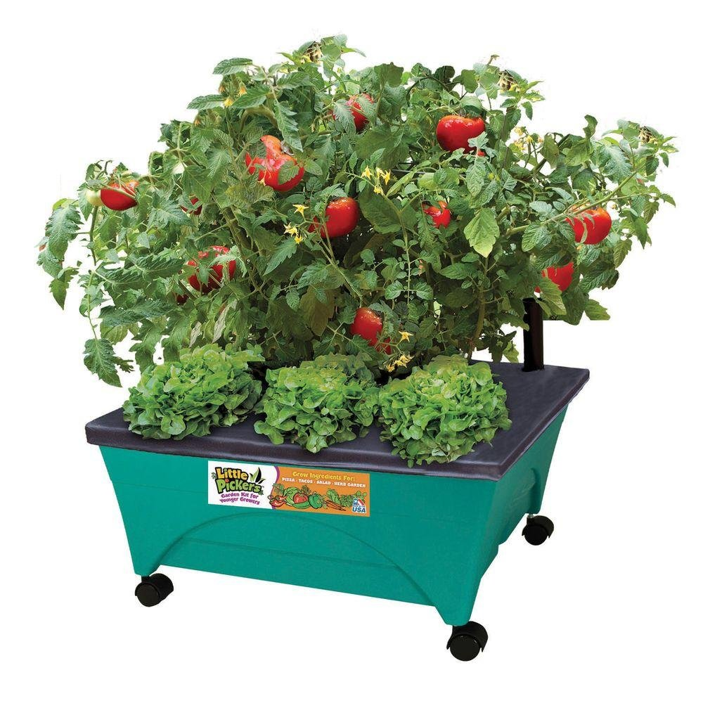 24-1/2 in. x 20-1/8 in. Patio Garden Kit with Watering System and Casters, Kid-Themed by Little Pickers
