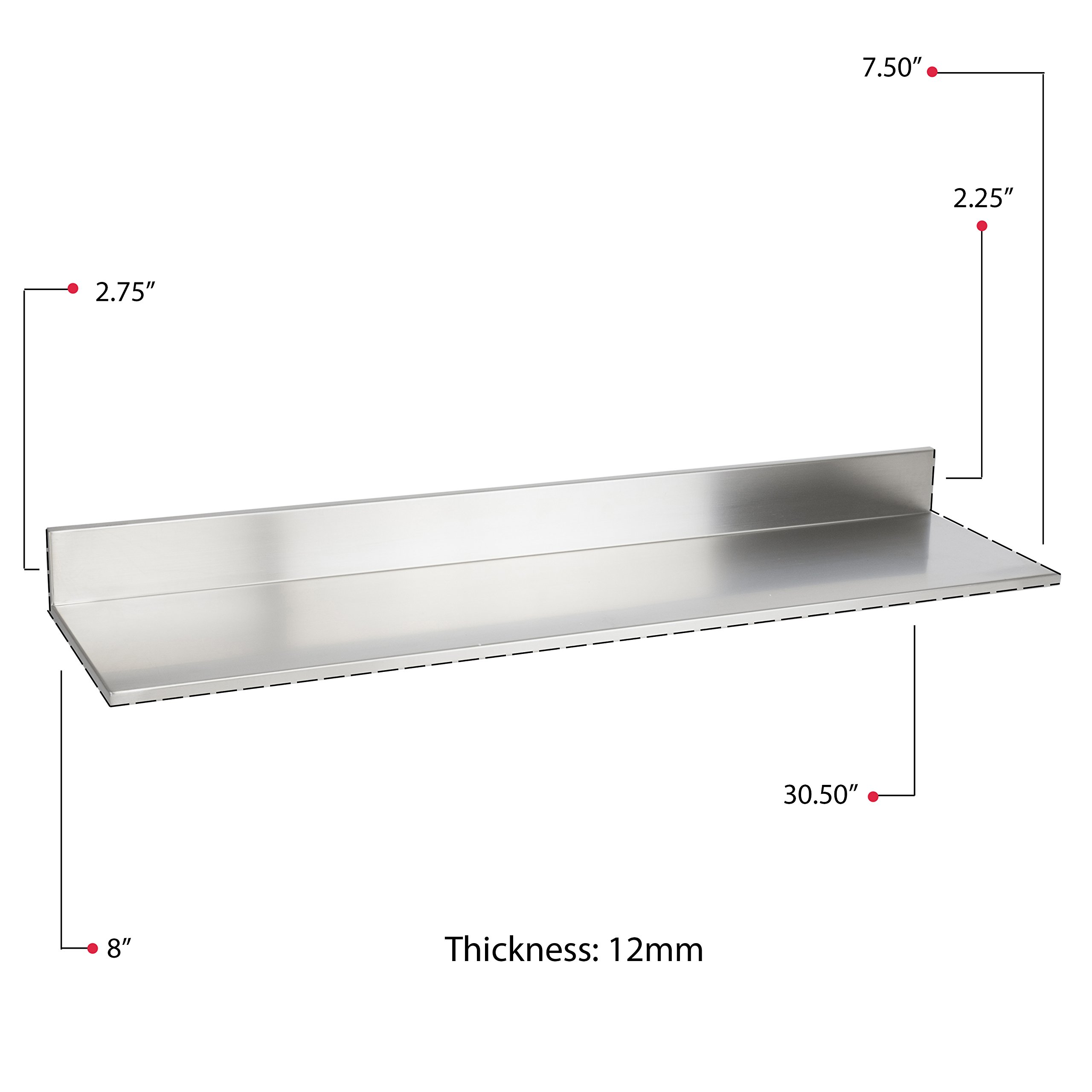 Stainless Steel Wall Mount Commercial and Home Use Premium Quality 30.50 Inches Kitchen Floating Shelves Set of 2 Silver by Fasthomegoods (Image #8)
