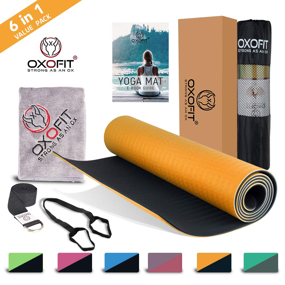 OxOFit All Purpose Yoga Mat for Men & Women Anti-Tear Sustainable TPE Material|for Yoga, Meditation, Floor Exercises|6ft x 2ft x 6mm Thick, Dual Layer, Non-Slip Mat| (Orange) (B07RB2P2NT) Amazon Price History, Amazon Price Tracker