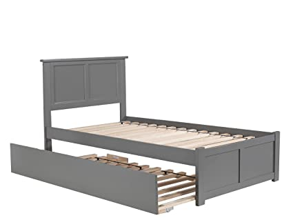 new products c8aff 089da Atlantic Furniture AR8622019 Madison Twin Platform Bed with Flat Panel Foot  Board and Twin Size Urban Trundle Bed in Atlantic Grey