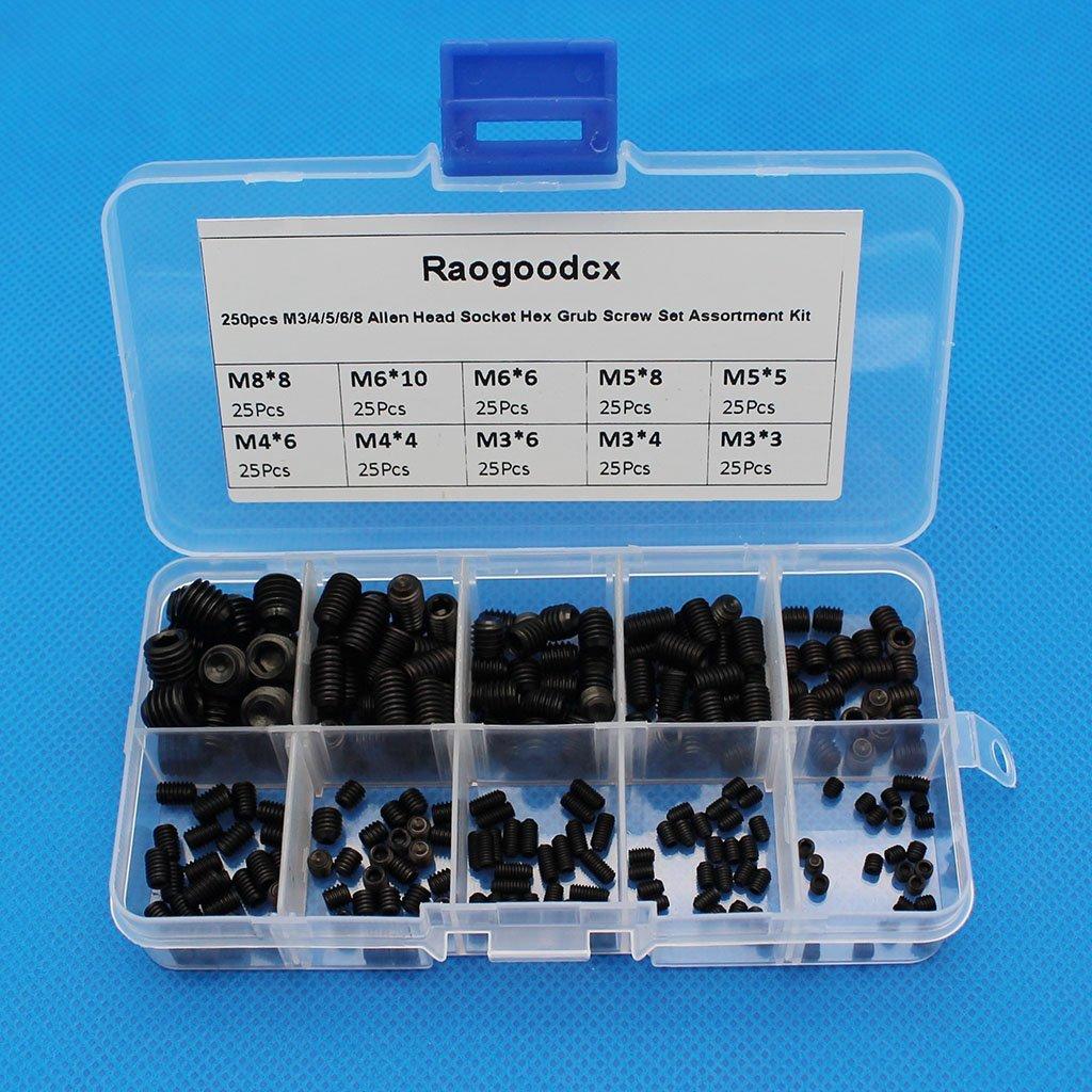Raogoodcx Madenschrauben-Set mit Innensechskant, M3/4/5/6/8, Inbus-Kopf, Stahllegierung, Festigkeit: 12.9, in Kunststoffschachtel, schwarz, 250 Stü ck Raogoodcx®