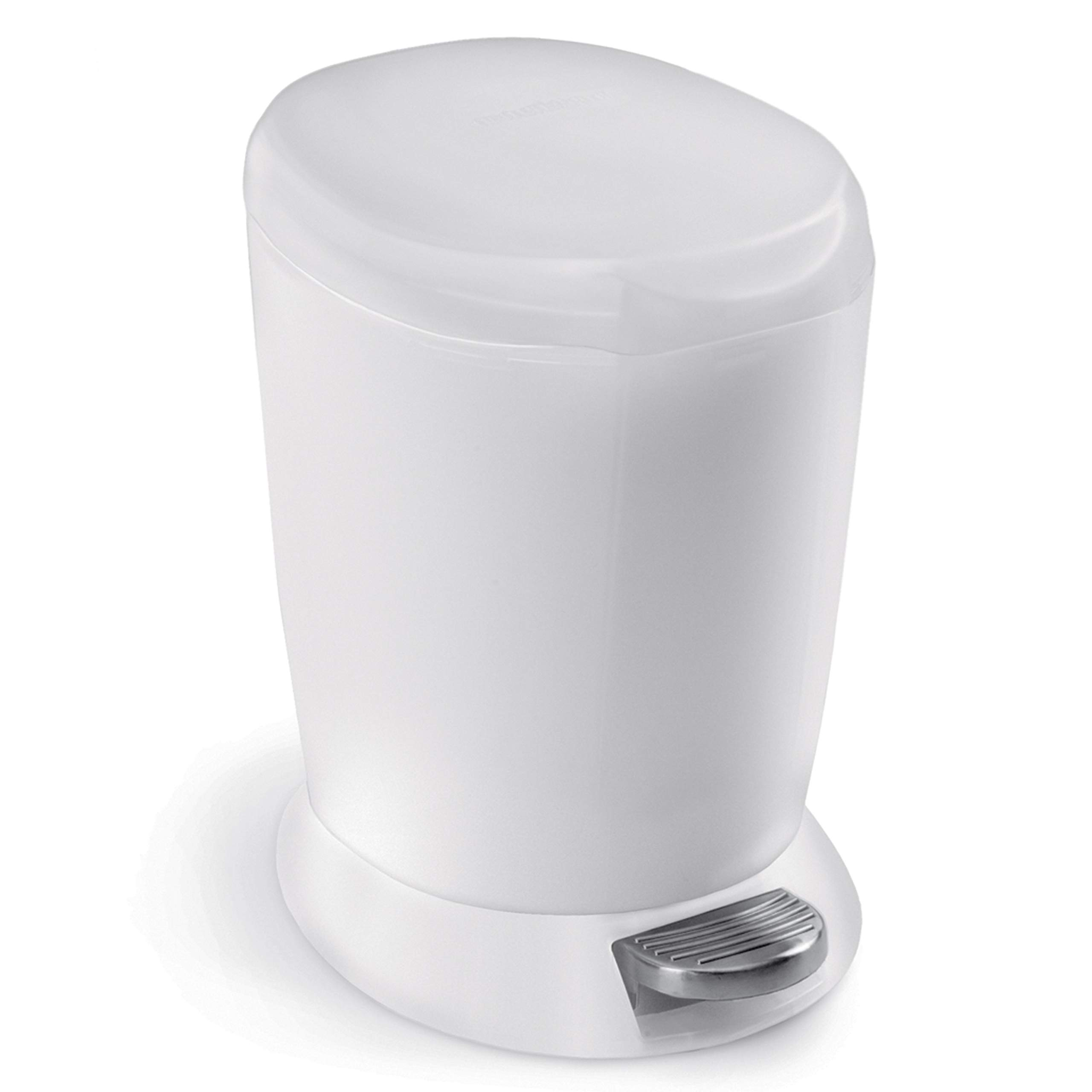 simplehuman 6 Liter / 1.6 Gallon Compact Plastic Round Bathroom Step Trash Can, White Plastic by simplehuman