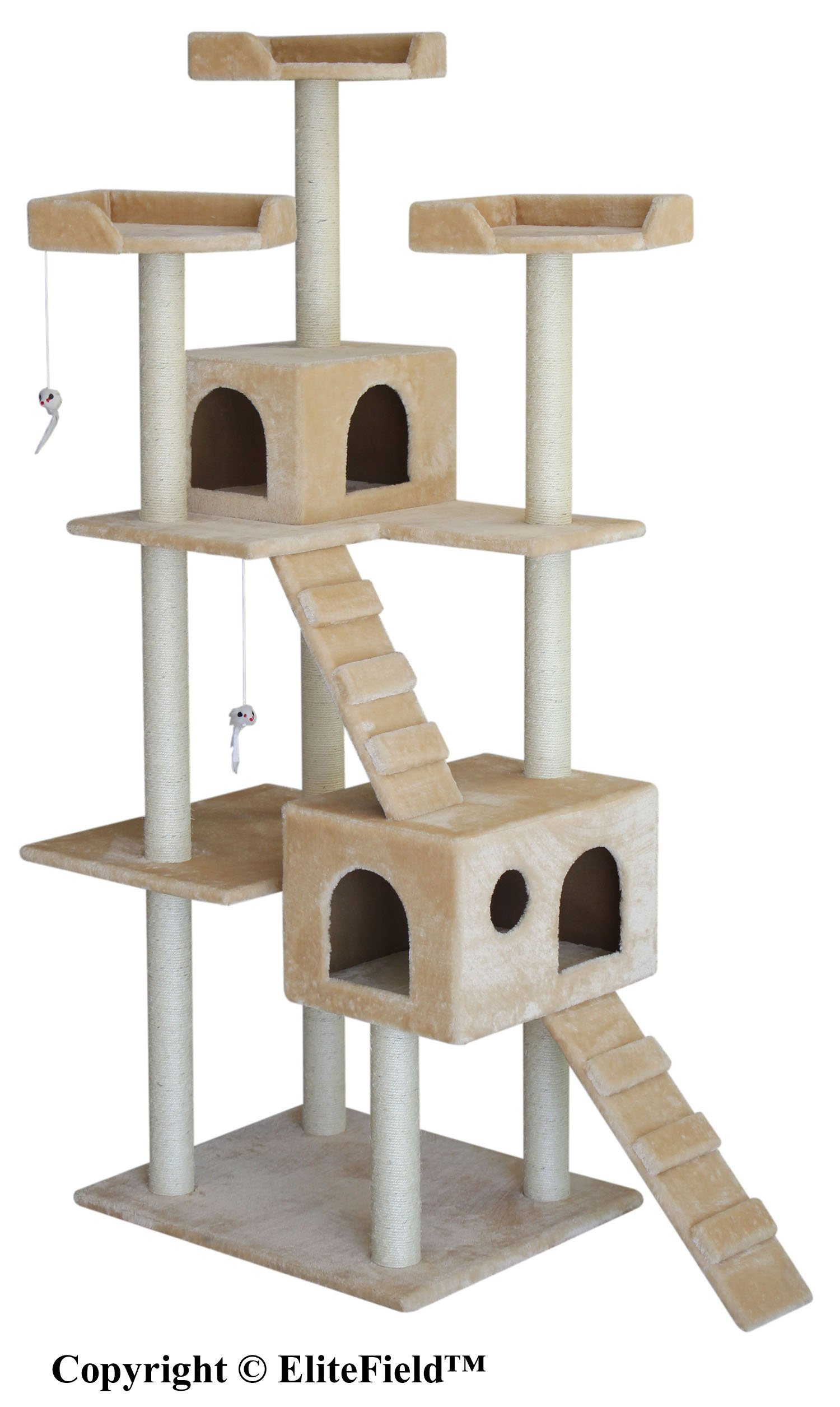 EliteField Cat Tree, Scratcher Furniture Condo House, Multiple Sizes Available (50''L x 26''W x 72''H)