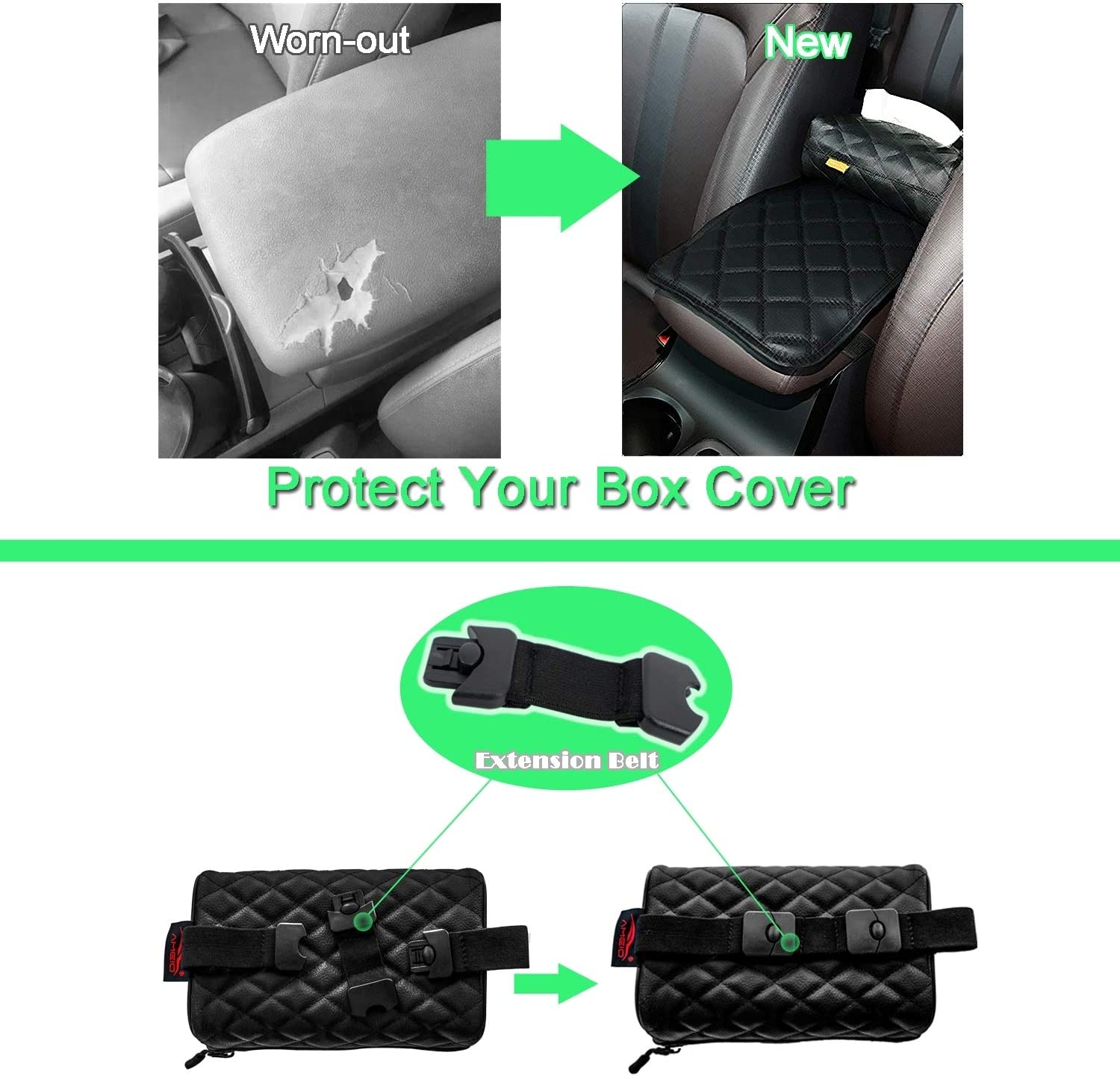 Tissue Holder and Paper Napkin Box Black PU Leather Universal Fit AMEIQ Car Armrest Cushion Pad Seat Box Cover Protector Upgraded Style Center Console Mat