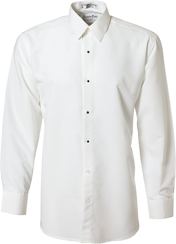 White Non Pleat Microfiber Laydown Collar Tuxedo Shirt