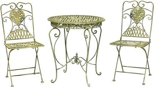 aubaho Salon de Jardin - 1 Table et 2 chaises - Fer forgé ...